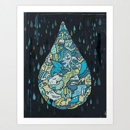 If heaven were a drop of rain Art Print