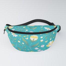 Colourscape Summer Floral Pattern Turquoise Lemon Fanny Pack