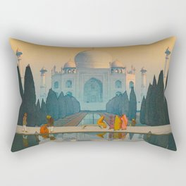 Morning Mist in Taj Mahal Vintage Beautiful Japanese Woodblock Print Hiroshi Yoshida Rectangular Pillow