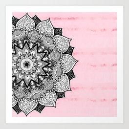Artistic Boho Hand Drawn Mandala on Pink Tie Dye Art Print