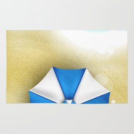 Couple of umbrellas on the beach, graphic art Rug