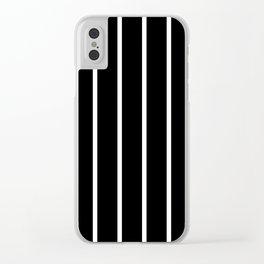 Vertical Lines (White & Black Pattern) Clear iPhone Case