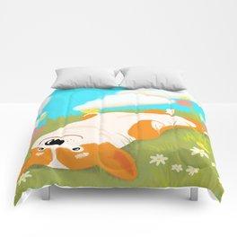 A Happy Corgi In The Sun Comforters