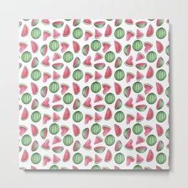Watermelon Pattern, White Background Metal Print