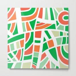 Broken Green And Orange Abstract Metal Print