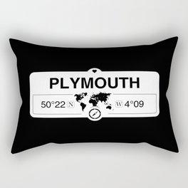 Plymouth England GPS Coordinates Map Artwork with Compass Rectangular Pillow