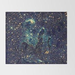 Pillars of Creation GalaxY  Teal Blue & Gold Throw Blanket