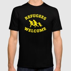 Refugees Welcome Black Mens Fitted Tee MEDIUM