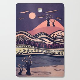 Psychedelic mountains (colour option) Cutting Board
