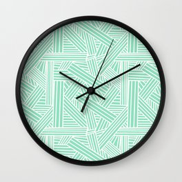 Sketchy Abstract (White & Mint Pattern) Wall Clock