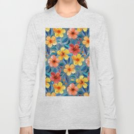 Colorful Watercolor Hibiscus on Grey Blue Long Sleeve T-shirt