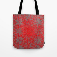 Snowy Red Halftone Flowers Tote Bag