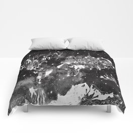 world map galaxy black and white Comforters