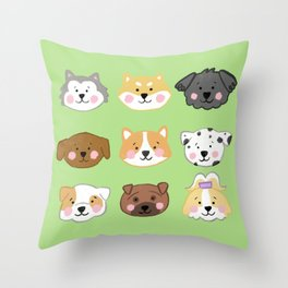 Nine Cute Dogs in Green Throw Pillow