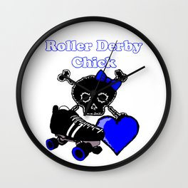 Roller Derby Chick (Blue) Wall Clock