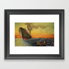 Big Boat Sunset Framed Art Print