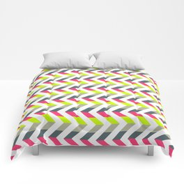 Neon Strawberry - Chevron Geometric Pattern Comforters