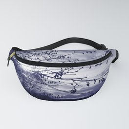 Sunset with hazel catkins Fanny Pack