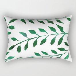 Green Watercolor Fronds Rectangular Pillow