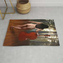 0182-JC Nude Cellist with Her Cello and Bow Naked Young Woman Musician Art Sexy Erotic Sweet Sensual Rug