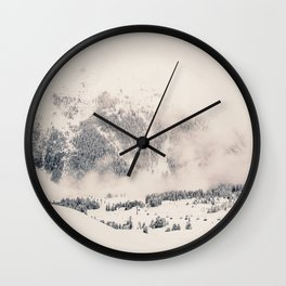 White Winter Mountains In Snow Wall Clock