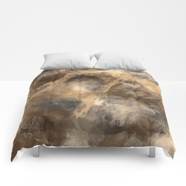 Stormy Abstract Art in Brown and Gray Comforters