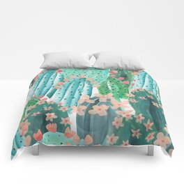 Colorful watercolor cacti Comforters