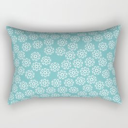 Artistic hand painted pastel teal white snow flakes pattern Rectangular Pillow