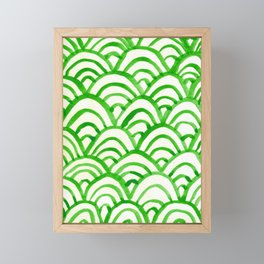 Handpainted Scallops Mermaid Scales Green Framed Mini Art Print