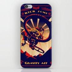 retro mountain bike poster: kick some gravity ass iPhone & iPod Skin