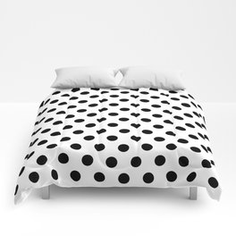 Black Polka Dots on White Comforters