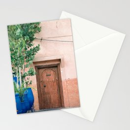"""Marrakech Travel Photography """"Wooden door on coral wall   Colorful wanderlust photo print Stationery Cards"""
