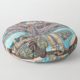 Mural of the Aztec city of Tenochtitlan by Diego Rivera Floor Pillow