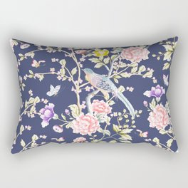 Chinoiserie Flowers and Birds Pattern Rectangular Pillow