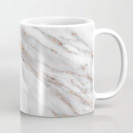 Pink Rose Gold Blush Metallic Glitter Foil on Gray Marble Coffee Mug