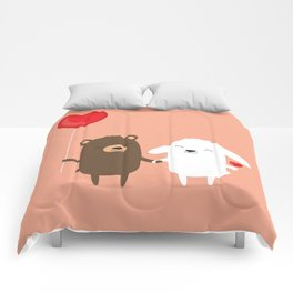 Cute cartoon bear and bunny rabbit holding hands Comforters