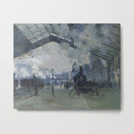Arrival of the Normandy Train, Gare Saint-Lazare by Claude Monet (1877) - Fine Art Collection Metal Print