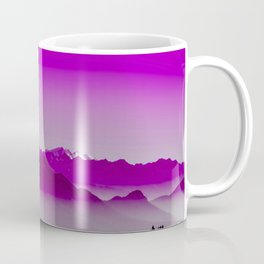 Rise above the mist. Purple Coffee Mug