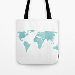 World Map - Teal Turquoise Watercolor on White Tote Bag
