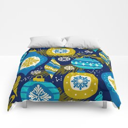 Festive navy blue white yellow abstract Christmas decorations Comforters