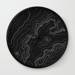Black & White Topography map Wall Clock