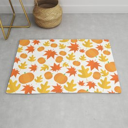 Colorful leaves and pumpkins Rug