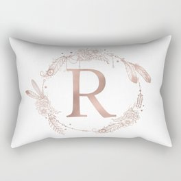 Letter R Rose Gold Pink Initial Monogram Rectangular Pillow