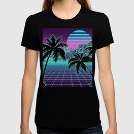 Retro 80s Vaporwave Sunset Sunrise With Outrun style grid print T-shirt