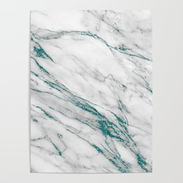 Gray Marble Aqua Teal Metallic Glitter Foil Style Poster