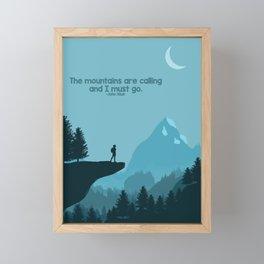 Mountain hiking at night Framed Mini Art Print