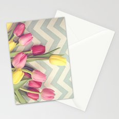Tulips and Chevrons Stationery Cards