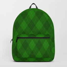 Argyle Fabric Pattern - Deep Royal Emerald Green Backpack