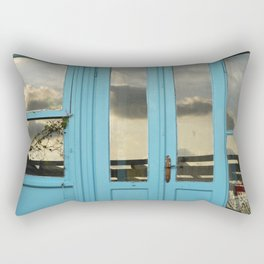 turquoise door in bodrum Rectangular Pillow