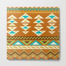 Native Aztec Brown Arrowhead Tribal Rug Pattern Metal Print